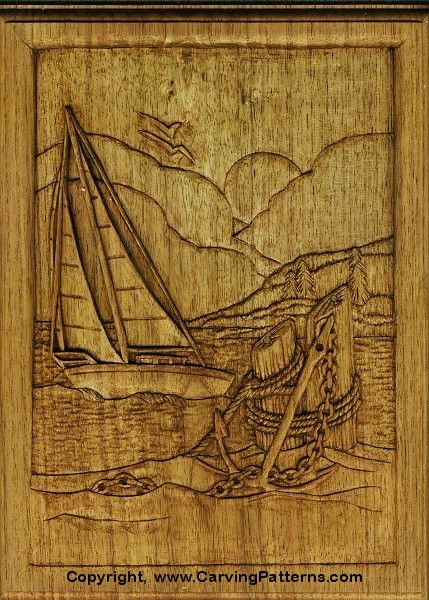 Wood carving patterns sailboat relief