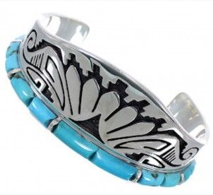Turquoise Southwest Water Wave Silver Cuff Bracelet CX49927