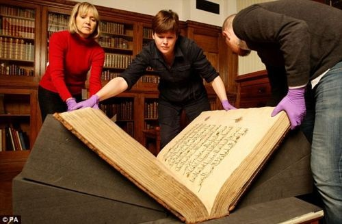 """GIANT 500 YEAR-OLD KORAN... """"Rylands Koran of Kansuh al-Ghuri"""" ... believed to have originated from Cairo from the library of Kansuh al-Ghuri, one of the last Mamluk Sultans of Egypt ... one of the finest, most lavishly illuminated and calligraphically significant Qur'an manuscripts ... written by several scribes 1350-1400 ... Soon to be published ONLINE! (John Rylands Library, Manchester, UK)"""