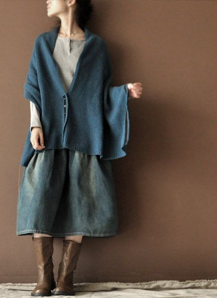 Old Blue  Cowboy Soft  Loose Skirts Cotton Chic by clothingshow, $45.00