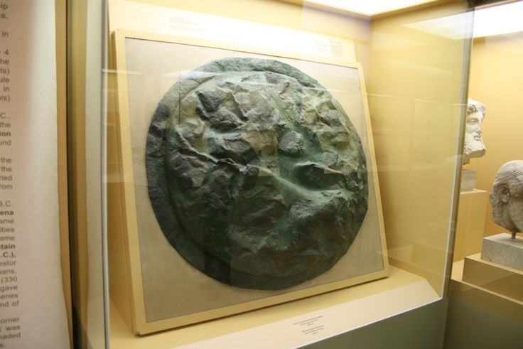 Bronze Spartan shield conquered, as the inscription punched on it reveals, from the Spartans at the victory of Pylos in 425 BC. Ancient Agora Museum in Athens, around 510 BC