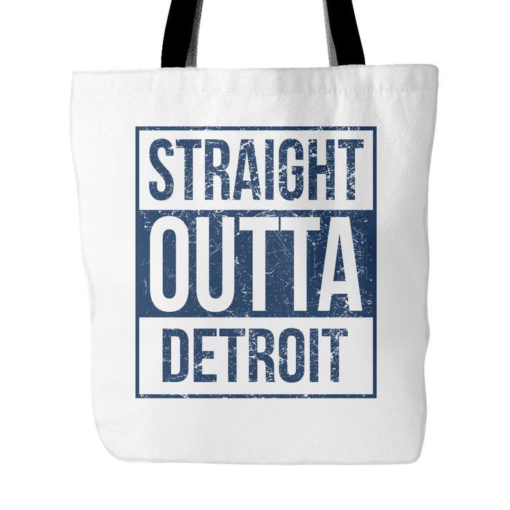 """Straight Outta Detroit Baseball Tote Bag, 18"""" x 18"""""""