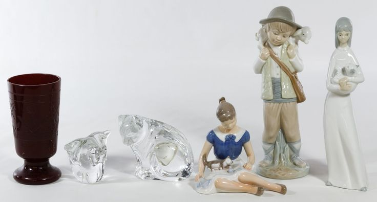 Lot 378: Crystal and Ceramic Figurine Assortment; Including a Waterford crystal cat, a crystal elephant, a B&G seated ceramic female, a Zaphir ceramic shepherd, a standing ceramic female and a Masonic etched red glass goblet