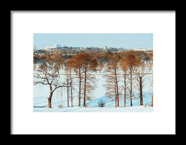 Bucharest City Skyline In Winter Framed Print