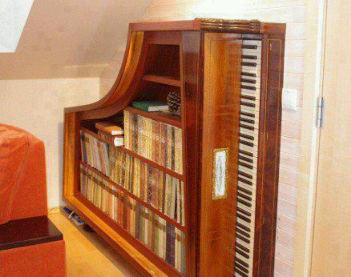 Uses for old pianos: Decor, Bookshelves, Ideas, Bookcases, Grand Piano, Piano Bookcase, Piano Bookshelf, Diy, Old Pianos