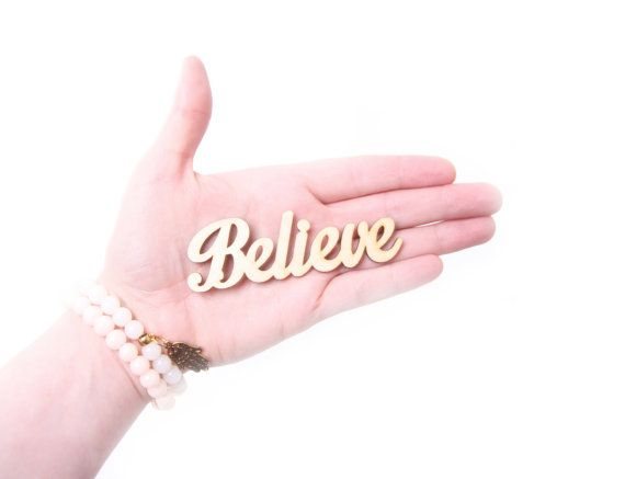 """BELIEVE wooden sign 3,5"""" x 1,2"""", bedroom decor, motivation, hope, love, scrapbooking, decoupage, prayer, gift for friend, unfinished wood"""