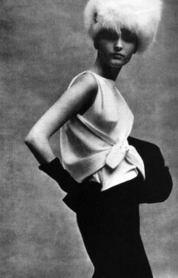 "What draping! by fashion designer Cristóbal Balenciaga as shot for ""Vogue"" October 1963 by photographer Karen Radkai. via I'm the It girl"