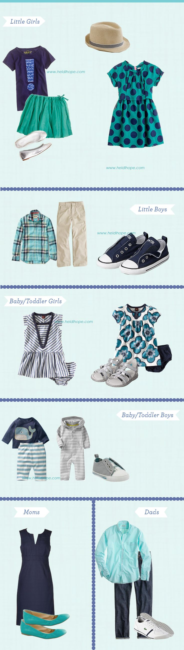 Spring Photo Shoot Clothing Inspiration!  A combination of blues, greens and neutrals!