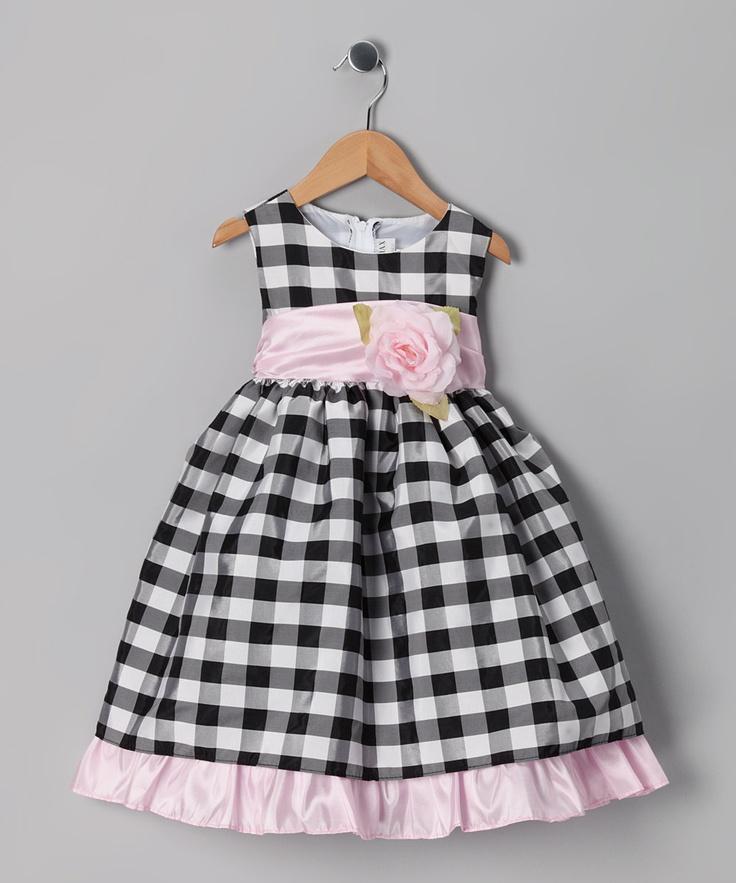 Ella & Dax Black Rose Gingham Dress - Infant, Toddler & Girls