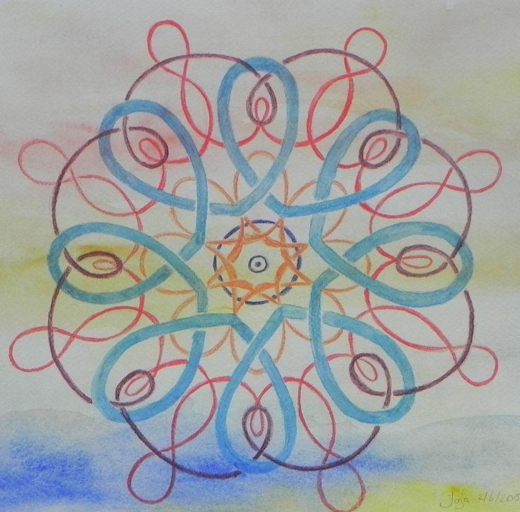 mandala, inktense potlood op aquarel achtergond