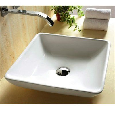 X Square Bathroom Vessel Sink White BS 4322