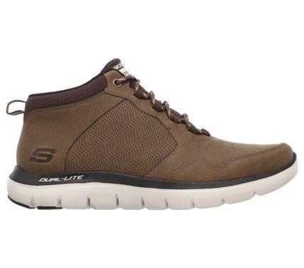 Skechers Men's Flex Advantage 2 High Key Memory Foam Mid Top Sneakers (Chocolate Leather) - 12.0 M