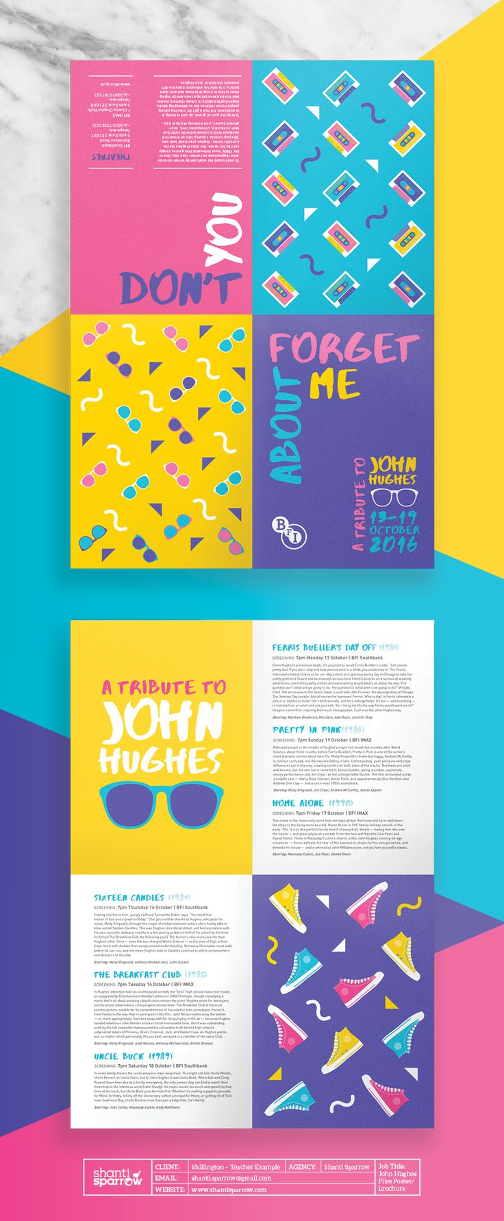 Design by Shanti Sparrow www.shantisparrow.com Client: Shillington Project Name: Brochure Poster Film BFI #Design #graphicdesign #illustration #layout #magazine #typography #branding #packaging #logo #graphics #identity #graphic #designinspiration #inspiration #nonprofit #posterdesign #brochure #poster #brochuredesign #Filmposter #retro #80's #eighties