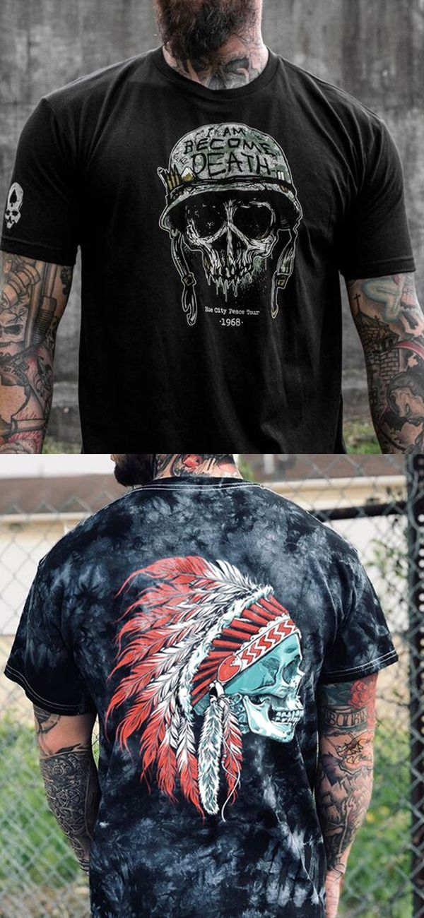 Mens Fashion Skull Pattern Serise T Shirts Skull Tattoo Mens Long Sleeve Shirt Men Mens Outfits Mens Shirts