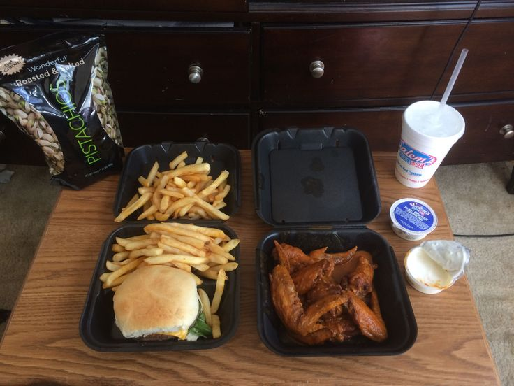 [I Ate] Breakfast: Quarter Pounder Angus Burger 10 Wings bathed in Ghost Pepper sauce Fries and Blue Cheese with Pistachios