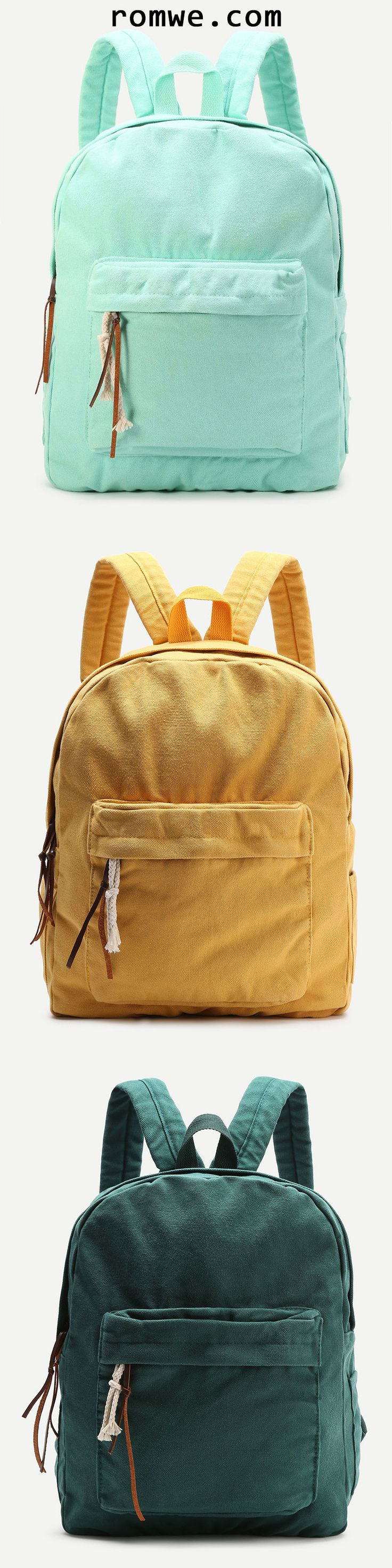 Zipper Front Canvas Backpack