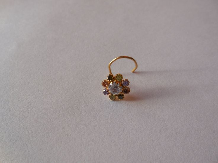 Beautiful! Multi stone Nose Stud For Pierced Nose -Indian Nose Pin -Flower Nose Ring-Nose Hoop- Nose Jewellry