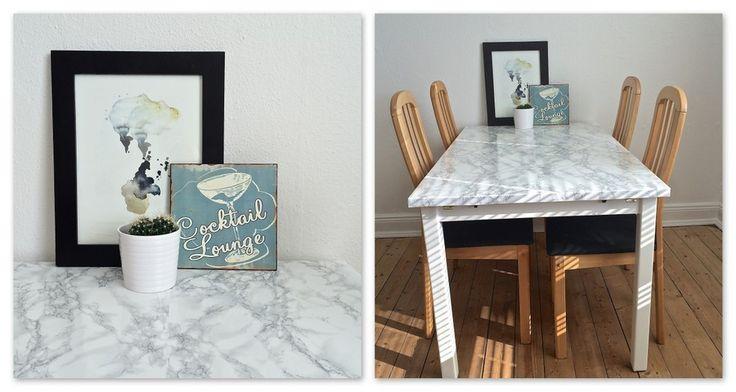 Make-over af spisebord med marmor folie. - Flair
