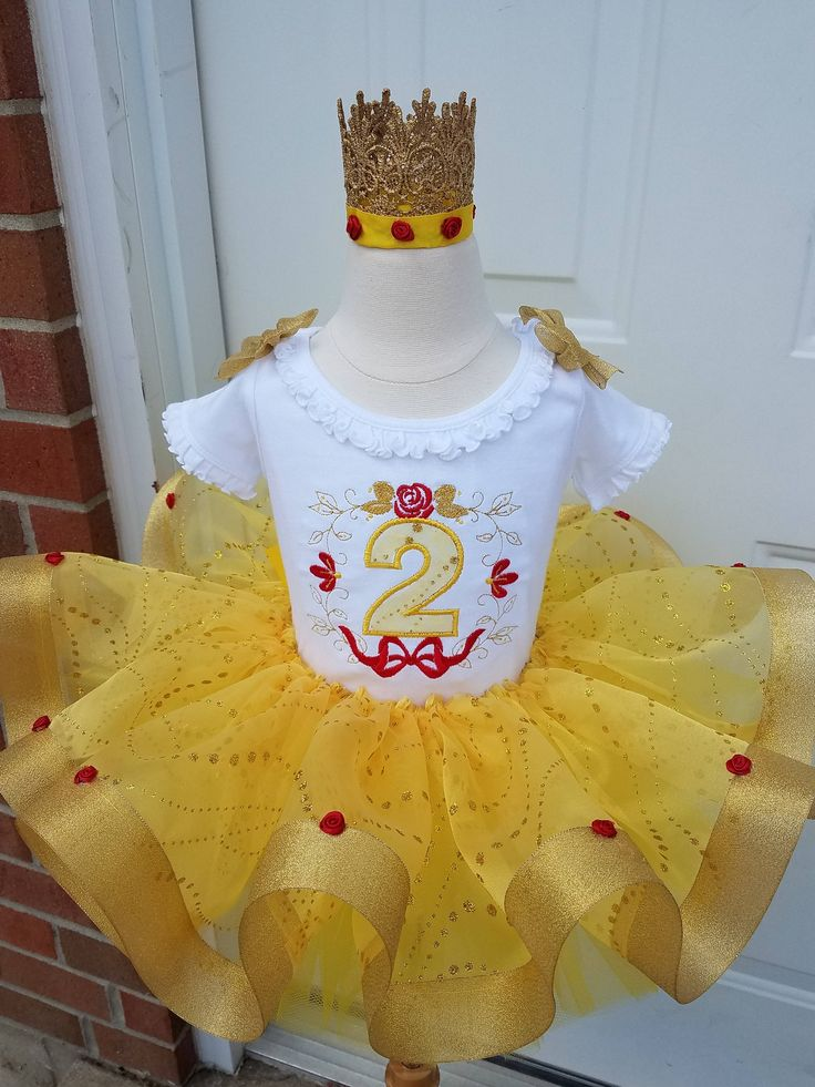 Belle inspired beauty and the beast tutu set with organza overlay, girls birthday party tutu by TutuCutebyChristyB on Etsy