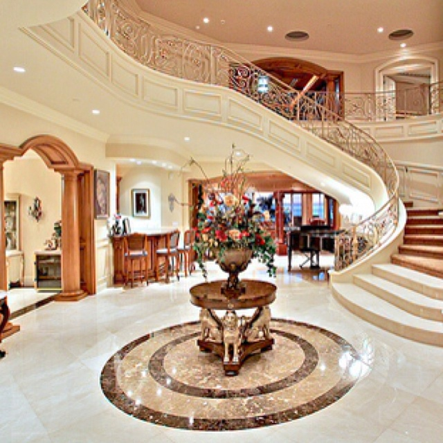 Grand Entrance, But Wouldnu0027t It Make More Sense To Carry The Marble All The  Way Up The Staircase? In A Home Of This Caliber, Cost Couldnu0027t Have Been  The ...
