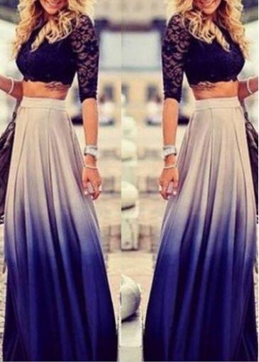 Mid Waist Long Ombre Blue Maxi Skirt - USD $31.40