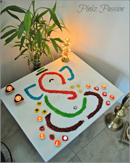 Diwali Décor, Diwali home décor, Diwali Inspiration, easy rangoli design, Ganesha rangoli, Rangoli, Rangoli Designs, rangoli with mirrors, rice rangoli design