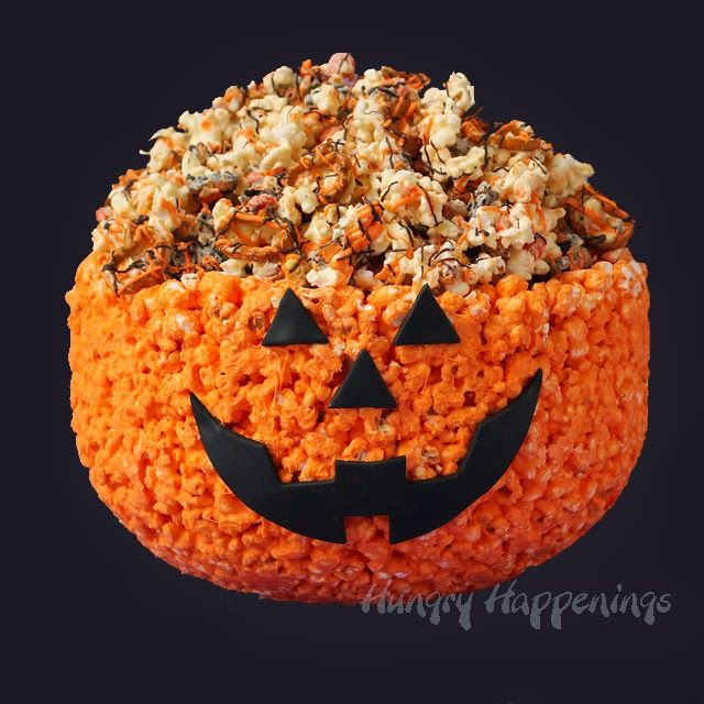 DIY Halloween Recipe for a 100% Edible Popcorn Jack-o-Lantern filled with Halloween Popcorn