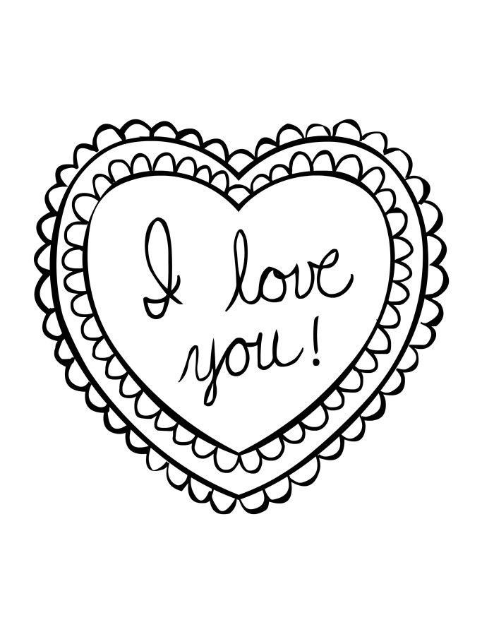 I Love You Heart Valentine Coloring Pages For TeenagersKids