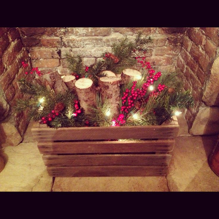 Best 20 christmas fireplace decorations ideas on pinterest for Artificial logs for decoration