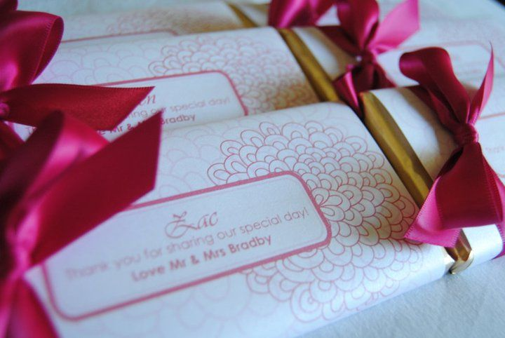 wedding personalised chocolate favours