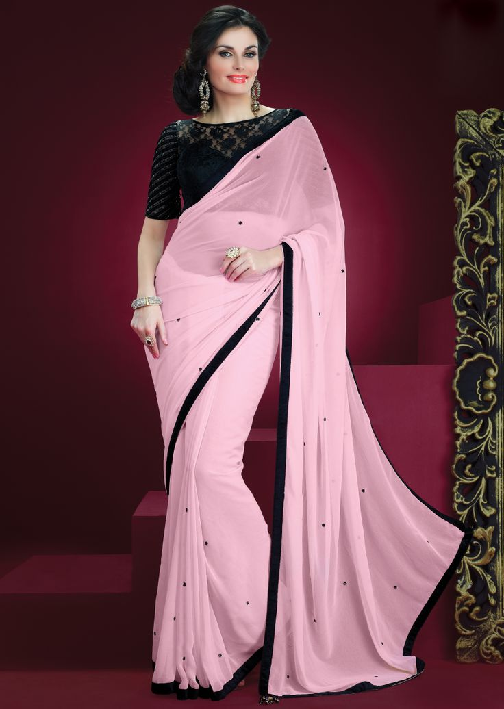 GEORGETTE SAREE WITH BLACK NET BLOUSE. check out https://www.facebook.com/pages/Janns-Creations/726865744004090