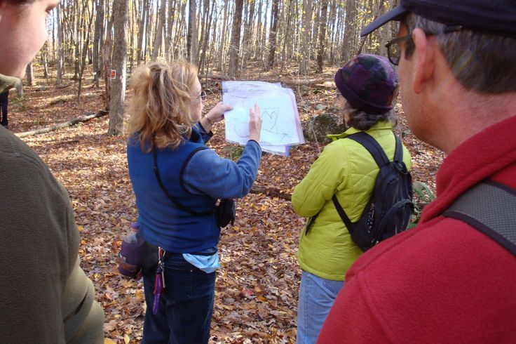 Gwen on behalf of Ashford Conservation Commission, showing the new trail on a map of Langhammer forest,  Ashford town land.