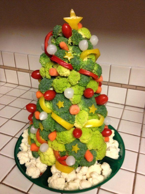 Sapin de Noël comestible (à faire avec des fruits ou légumes de saison)