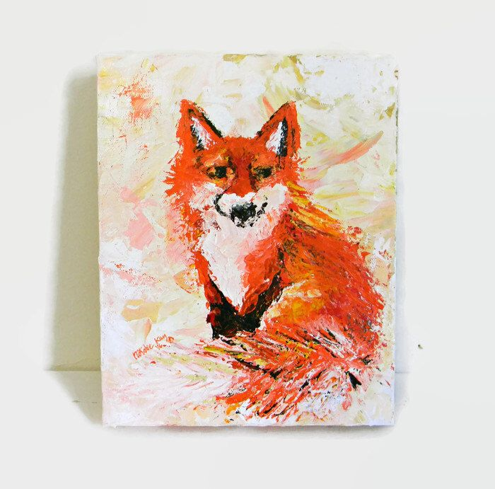 Abstract Fox, Original Acrylic Painting, 8X10