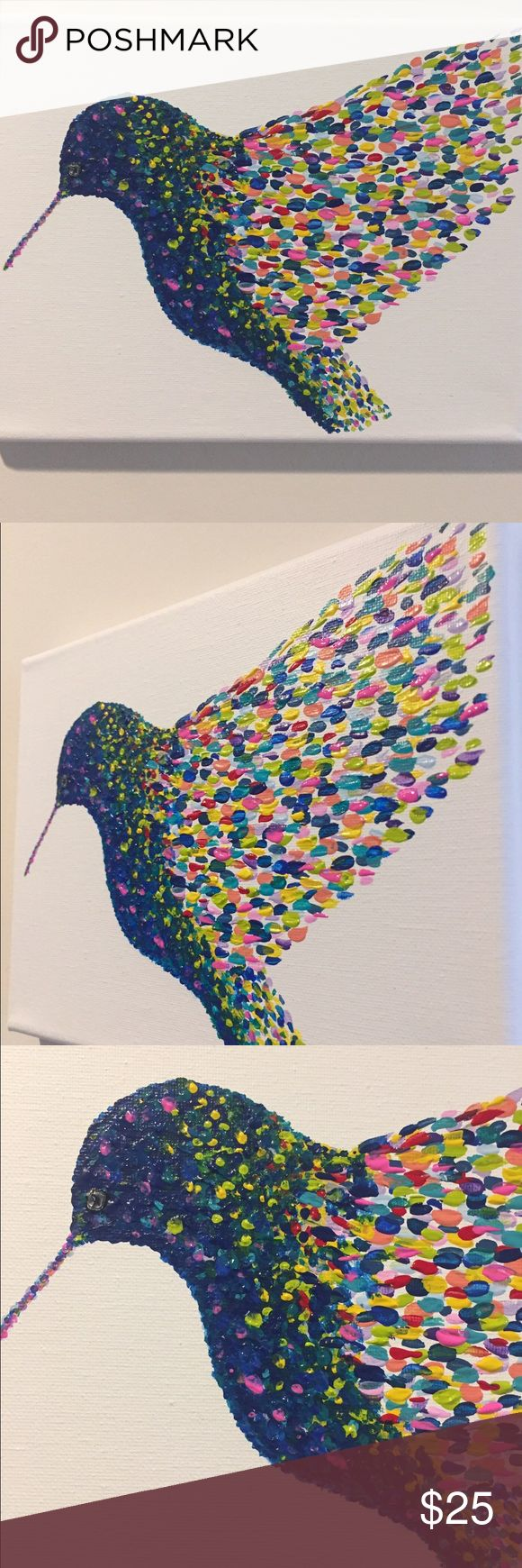 """Hummingbird Wall Art Hand Painted multicoloured hummingbird Wall Art, Size 9x7"""" back stapled onto wooden frame, no frame required. Perfect present for yourself or someone  Allyamy Accessories"""