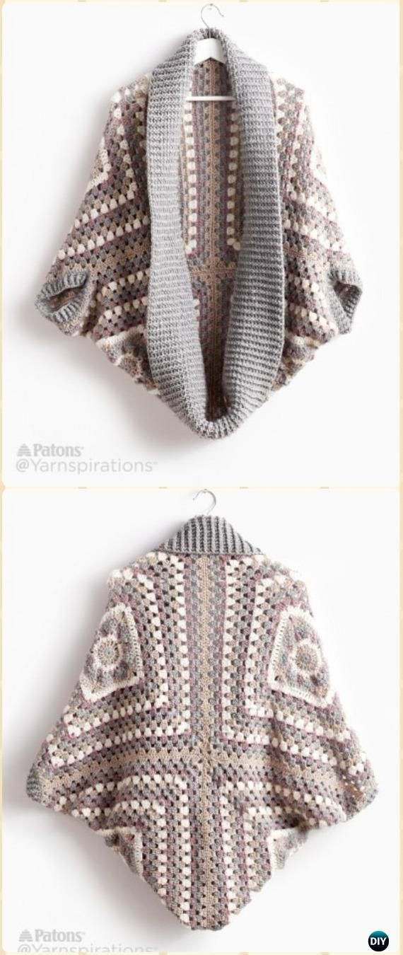 Crochet Patons Coziest Granny Square Shrug Cardigan Free Pattern - #Crochet; Women #Shrug; Cardigan Free Patterns