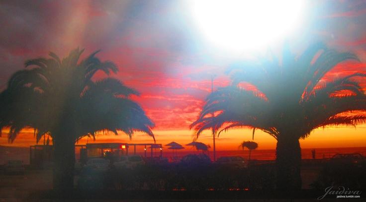 Cielo en Rojo, Atardecer en Viña del mar. Chile. V Region