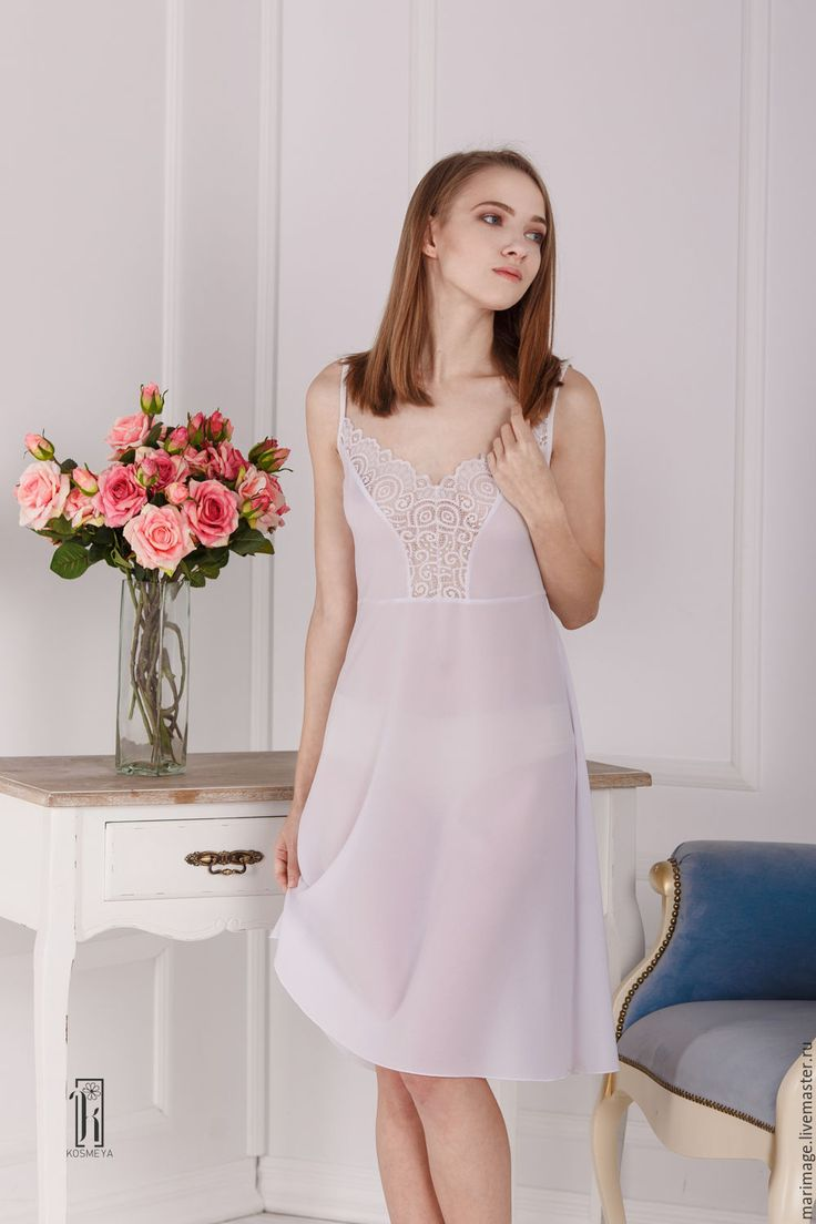 """Купить ночная сорочка """"Сладкий сон"""" - белый, однотонный, кружево, кружева, шифон, шифоновое платье"""