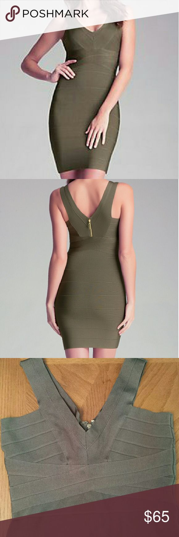 Bebe army green bandage dress V neck bandage dress in army green.  Excellent condition,  only worn once. 80% rayon 20% spandex Color shows poorly,  but is truer to stock photos. bebe Dresses