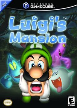Luigi's Mansion (Nintendo), GameCube; action-adventure game made by EAD. It was the first Mario game to be released for GameCube. Released in Japan & North America in 2001, & 2002 in Europe as a launch title. takes place in a haunted mansion when Luigi wins a contest that he never entered. He tells Mario to meet him there to celebrate his victory- only to find he is missing. sold over 2.5m it is the 5th best-selling GameCube game in the U.S. Sequel 'Dark Moon' was released for 3DS in 2013.