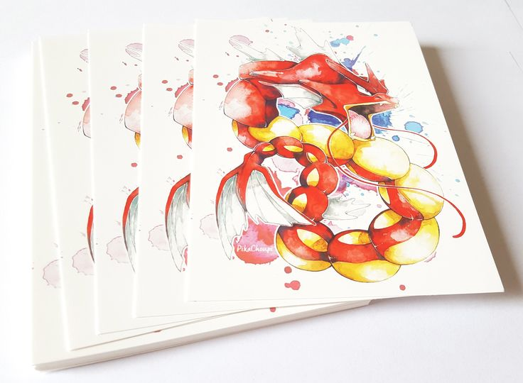 Shiny Gyarados by PikaChoupi Size: A6 (10,5 x 14,8 cm)Watercolor painting made by me and printed on Vistaprint.