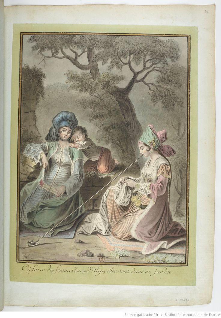 Coëfures des femmes Turques d'Alep; elles sont dans un jardin : [dessin] / [François-Marie Rosset]