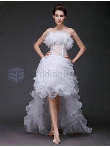 A-line Strapless Asymmetrical Feathers fur Satin Organza Wedding Dress