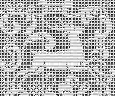 Leaping Deer filet crochet chart