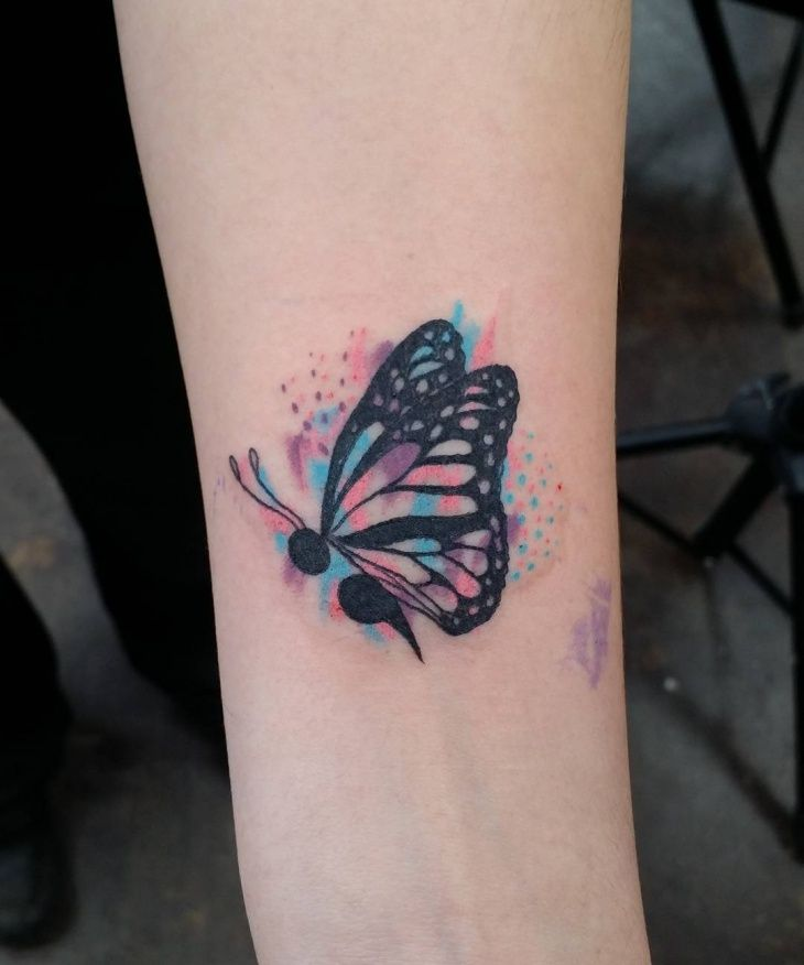 Watercolor Semicolon Butterfly Tattoo