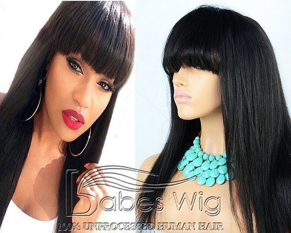 100% brazilian hair long hairstyles black wig with bangs human