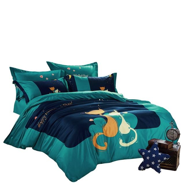 4pcs polyester/cotton duvet cover set,cats bedding set,starry sky quilt cover,green bed sheet/pillowcase,queen twin bedding set