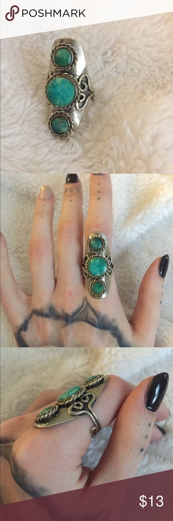 Sterling Silver Turquoise ring Boho style turquoise ring. Very comfortable and chic. Purchased from Earthbound Trading Company Jewelry Rings