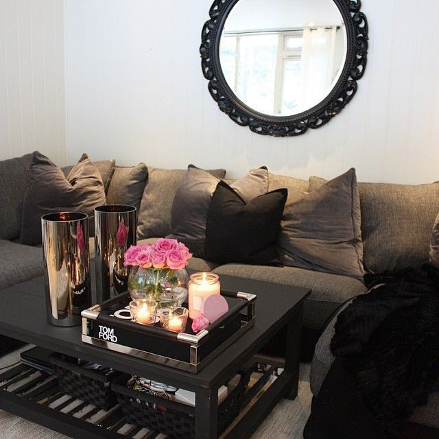 Black Living Room With Silver Accessories Find More And Ideas Here