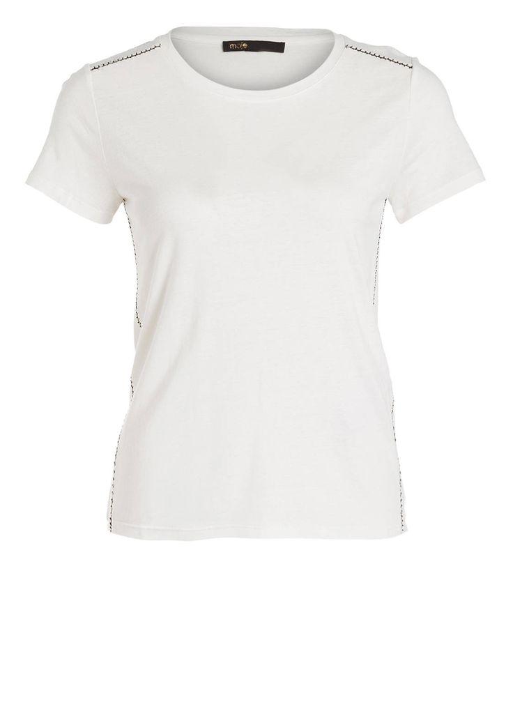 Kontrastierende Nähte, feine Cut-outs und eine ausgesuchte Viskose-Leinen-Mischung – so punktet das T-Shirt THRILLER von maje für Damen. Dank der hochwertigen Materialqualität liegt es weich auf der Haut und bietet angenehmen Tragekomfort. Überzeugen Sie sich selbst!Details:Gerader Schnitt Rundhalsausschnitt Feine Cut-outs mit Kontrastnaht an den Schultern und seitlich Asymmetrisch nach vorne verlaufende Seitennaht Abgerundeter Saum Maße bei Größe 36:Rückenlänge ab Schulter: 58 cm